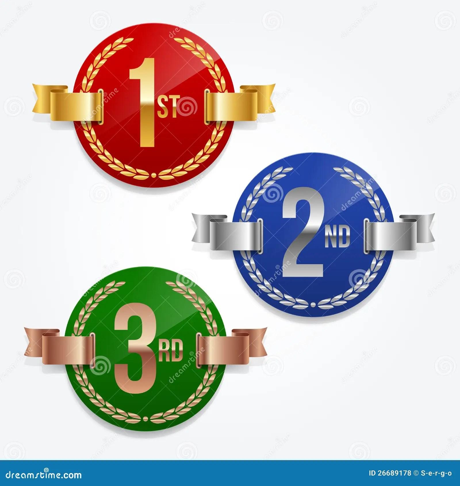 1st 2nd 3rd Awards Emblems Royalty Free Stock Photos