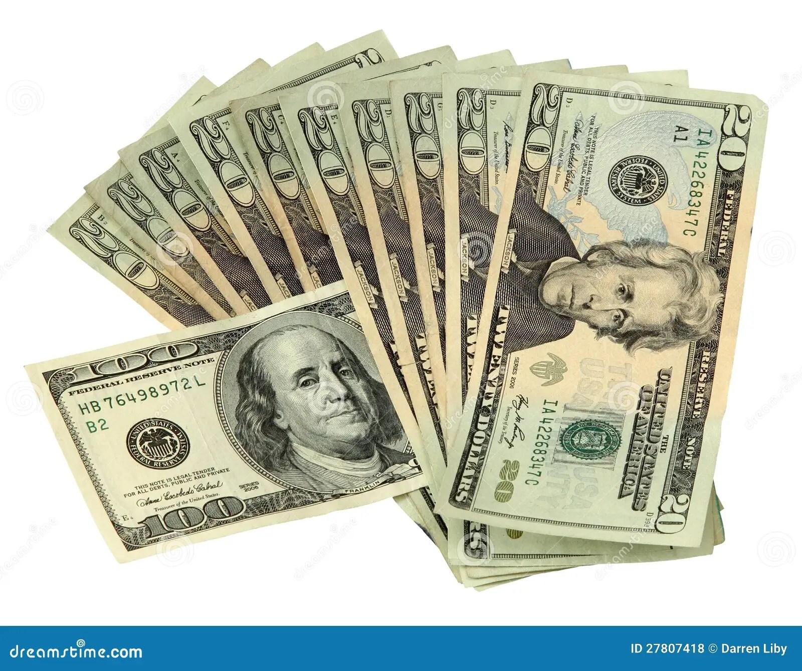 20 Dollar Bills With One 100 Dollar Bill Stock Photo