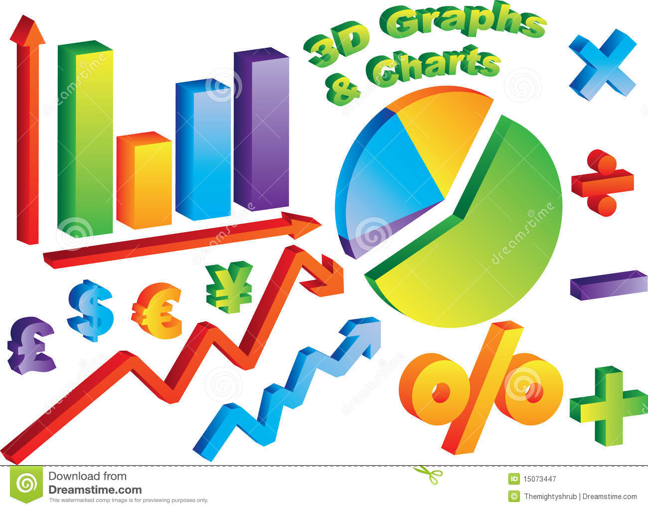 3d Charts And Graphs Royalty Free Stock Photography
