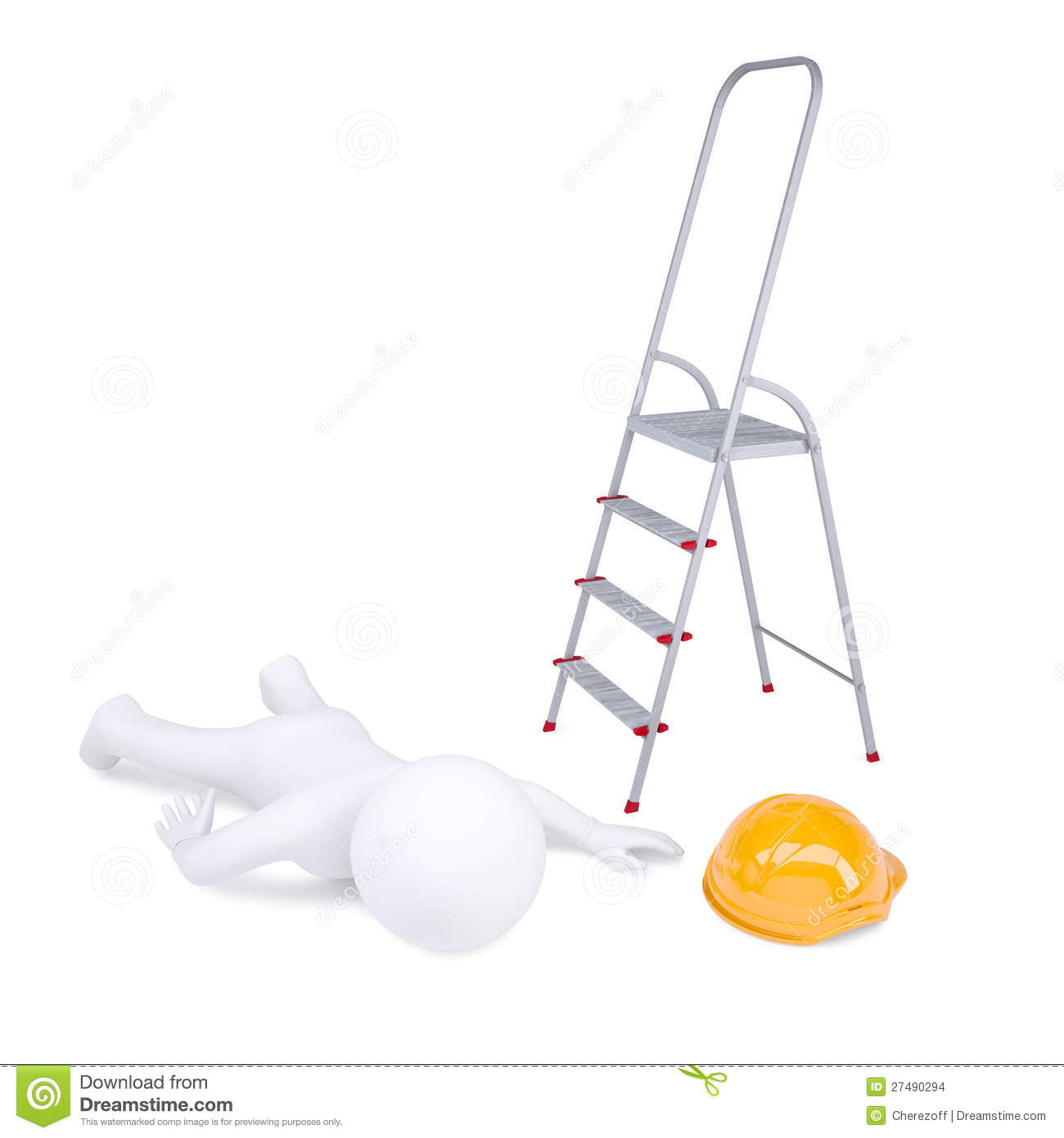3d Human Fell Off The Ladder Stock Images