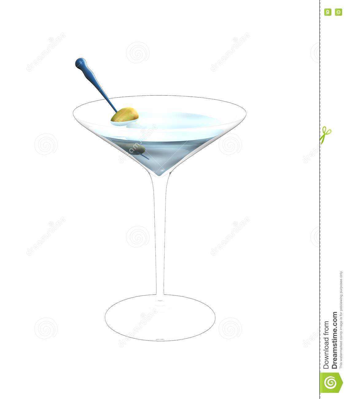 3d Illustration Of Cocktail Glass Royalty Free Stock