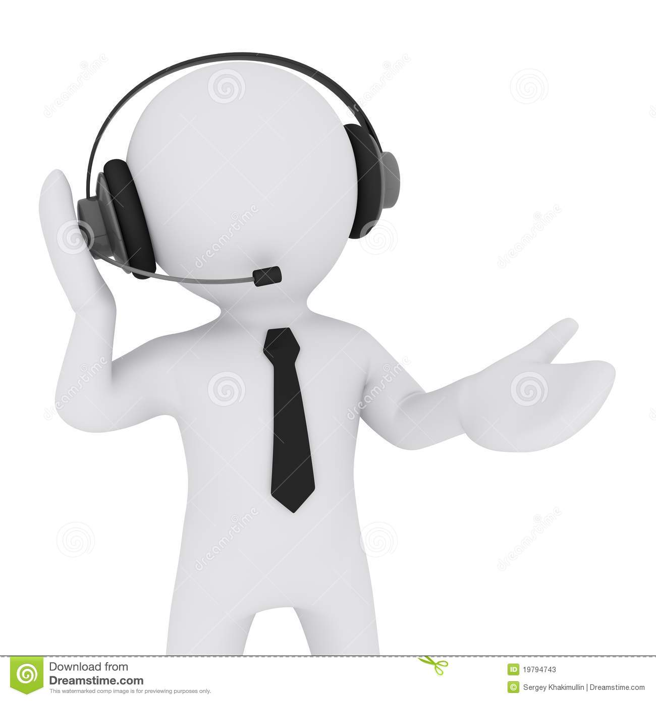 3d Man With Headset Stock Photos