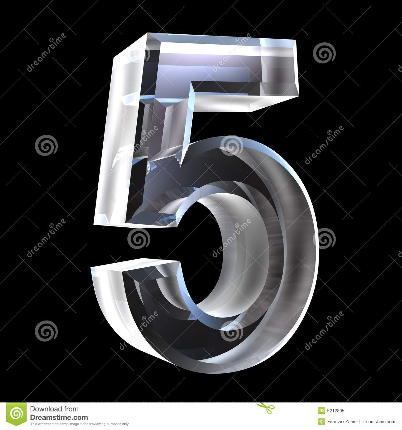 3d Number 5 In Glass Royalty Free Stock Photo Image 5212805
