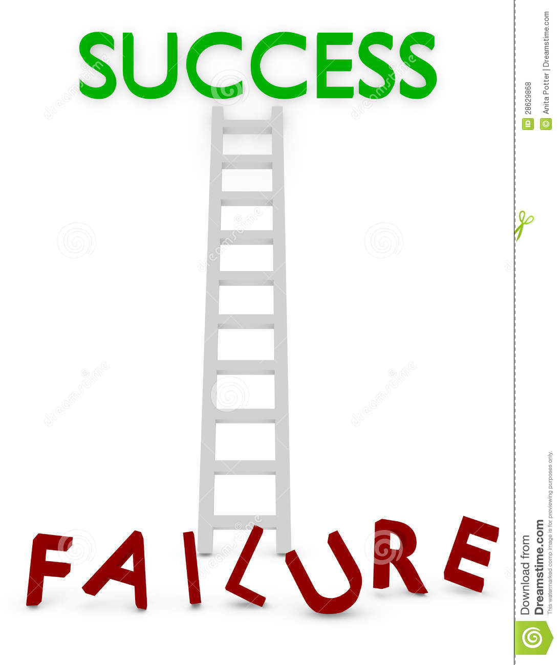 3d Render Of A Ladder To Success Or Failure Royalty Free