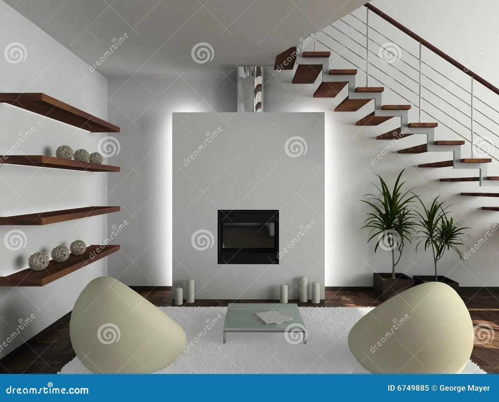 3D Render Modern Interior Of Living Room Royalty Free