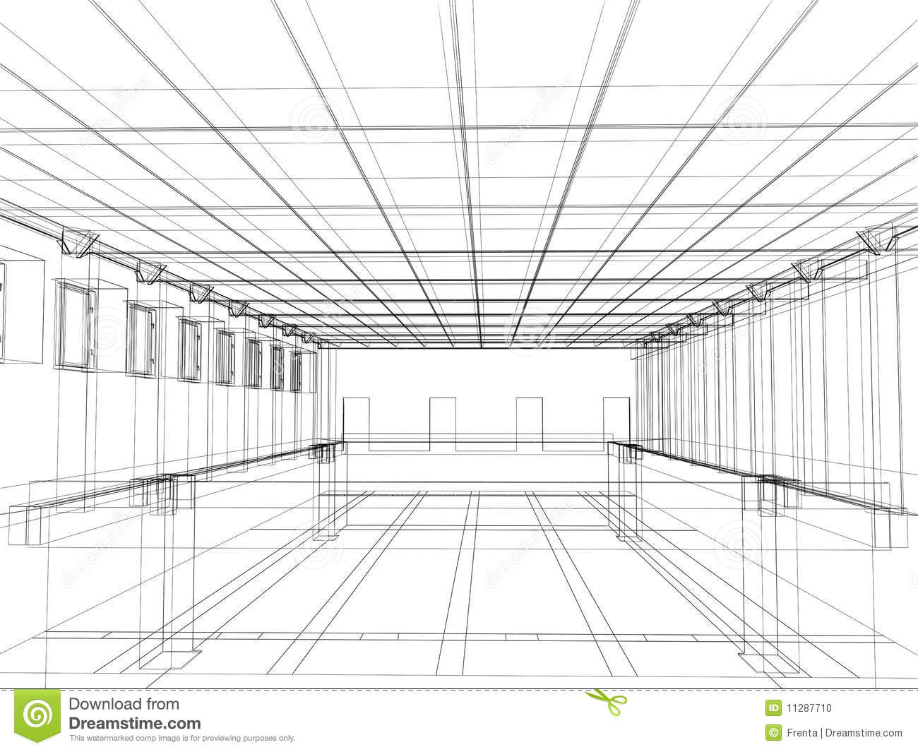 3d Sketch Of An Interior Of A Public Building Stock Photo