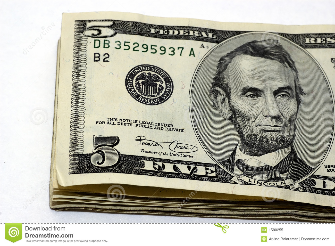 5 Dollar Bills Stock Image Image Of United Bank Finance