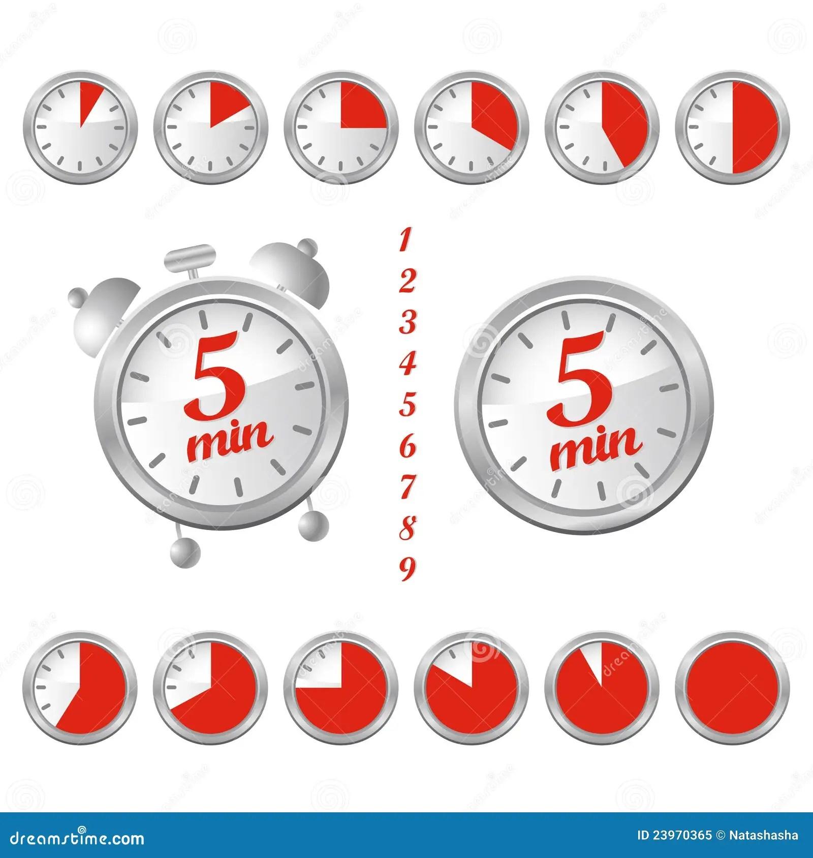 5 Minutes Clock Stock Vector Illustration Of Minute