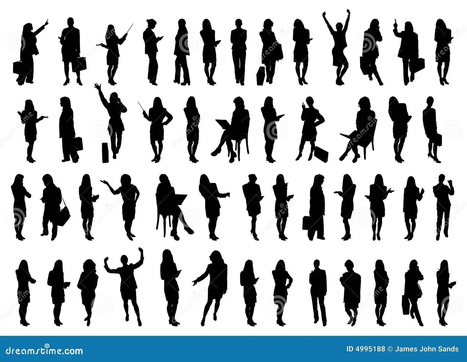 50 Businesswomen Silhouettes Royalty Free Stock Photos