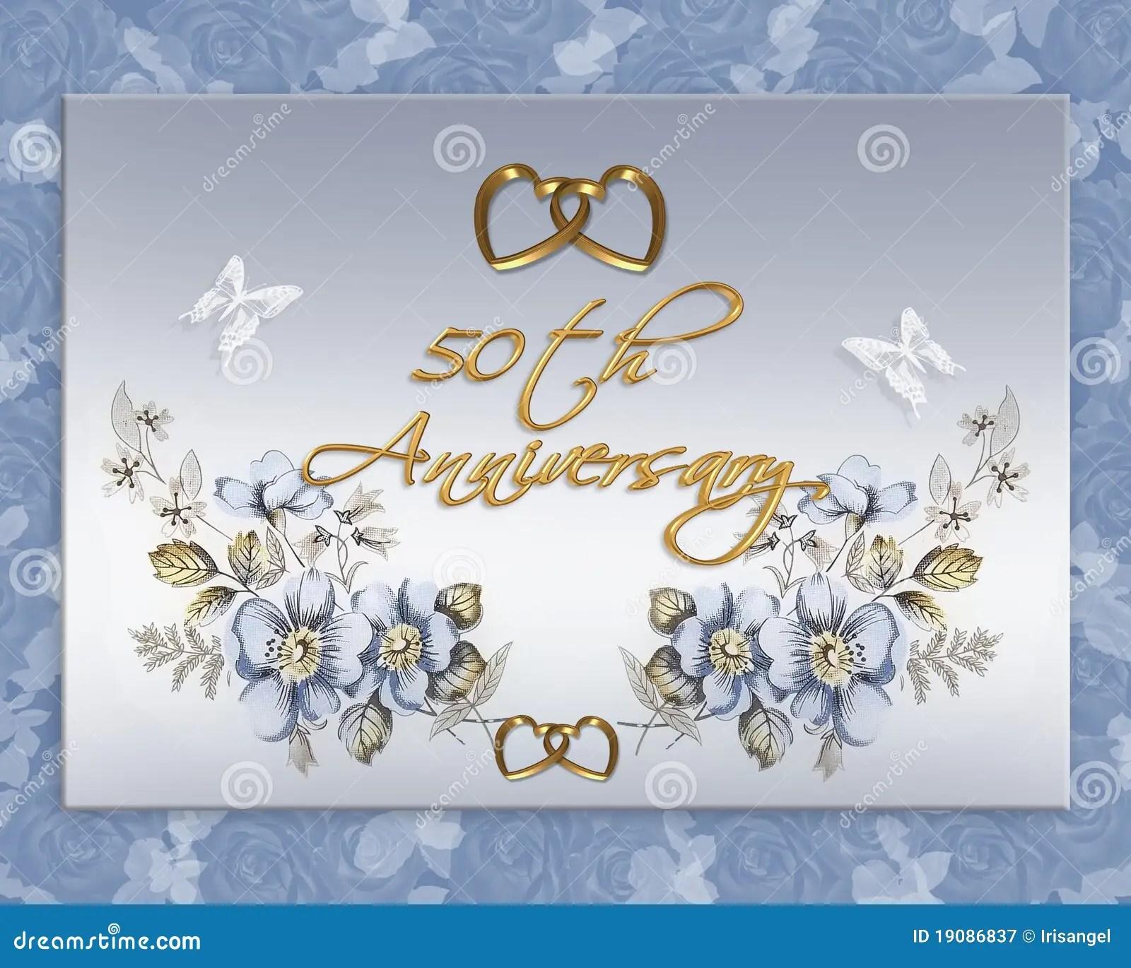 50th Wedding Anniversary Card Stock Illustration