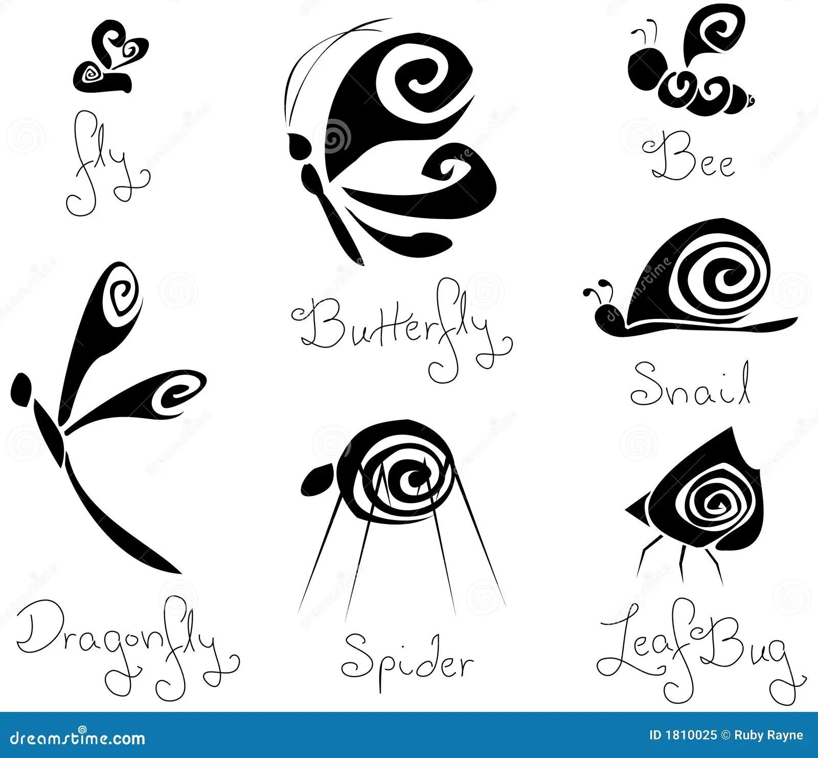 7 Insetos Estilizados B Amp W Do Conceito Diferente Ilustracao