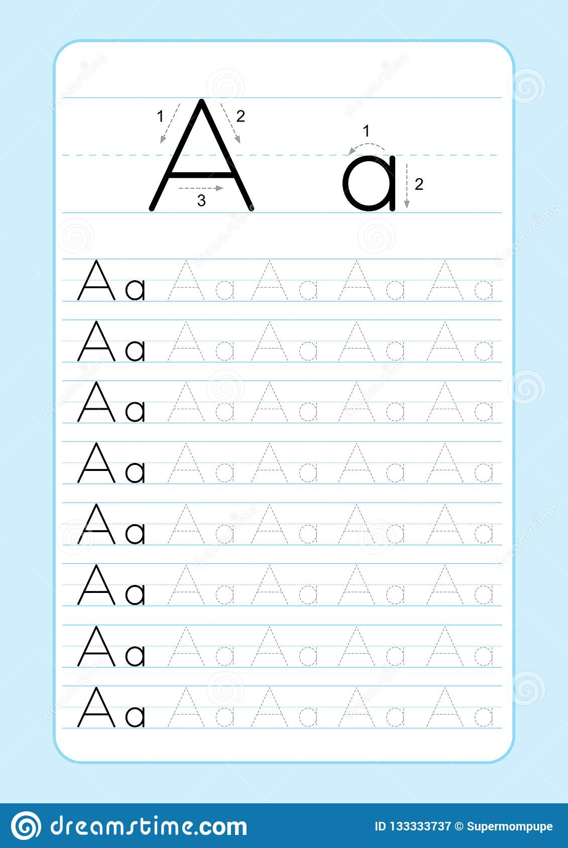 Letter H Worksheet Vector Illustration