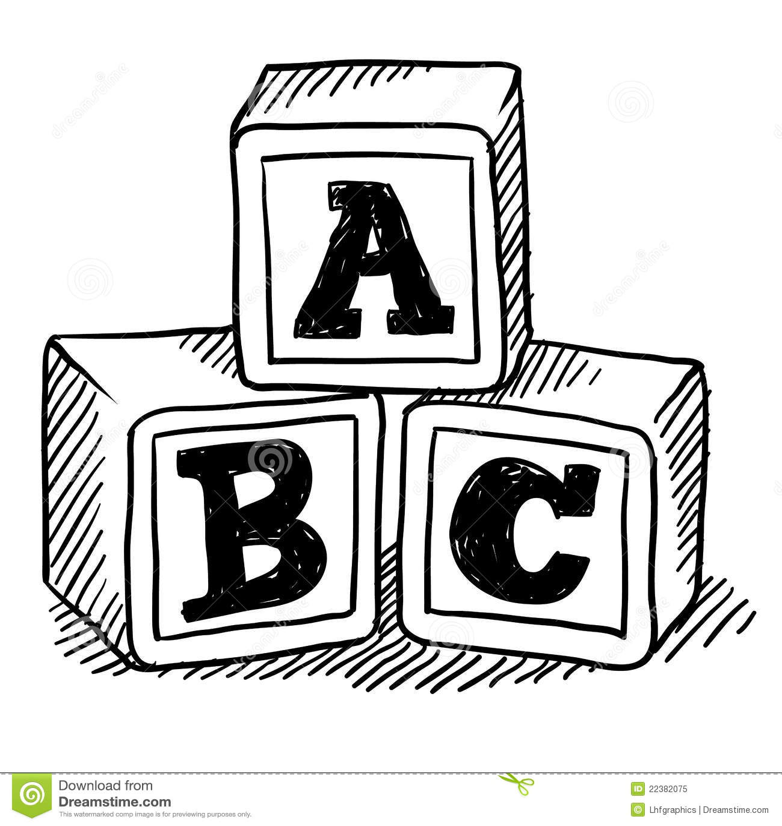 Abc Blocks Sketch Stock Vector Illustration Of Drawing