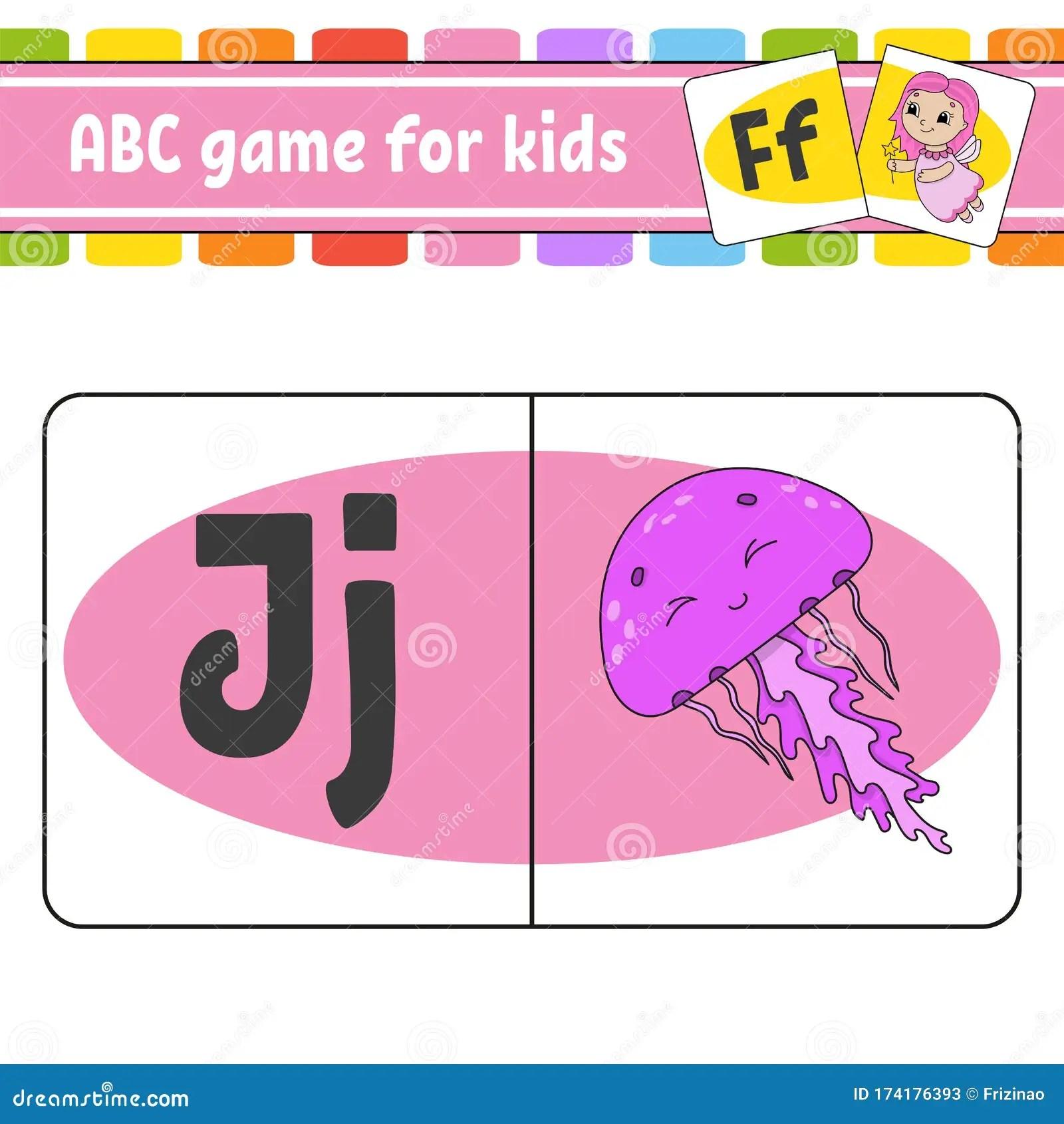 Abc Flash Cards Marine Jellyfish Alphabet For Kids