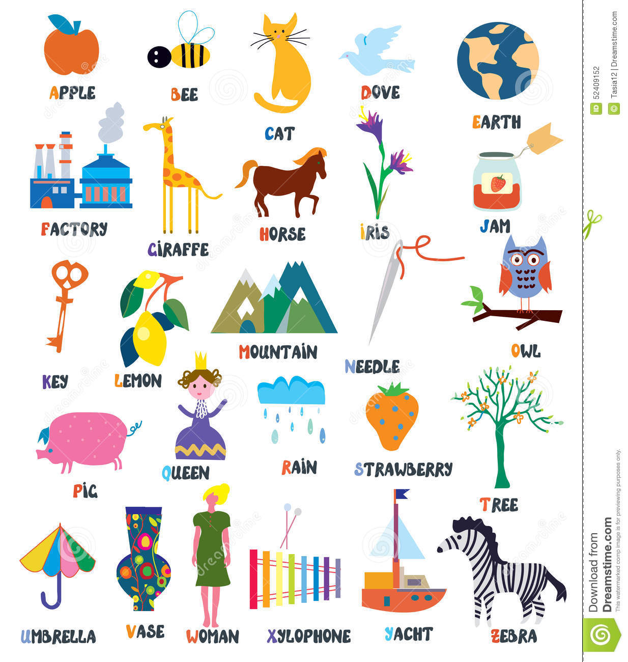 Abc For Kids With Animals Objects Toys Stock Vector