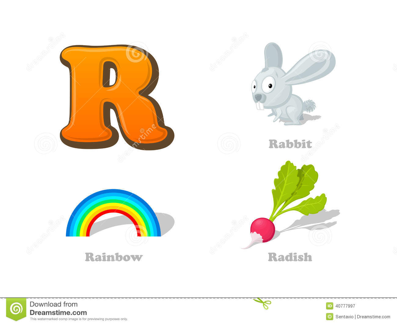 Abc Letter R Funny Kid Icons Set Rabbit Rainbow Radish