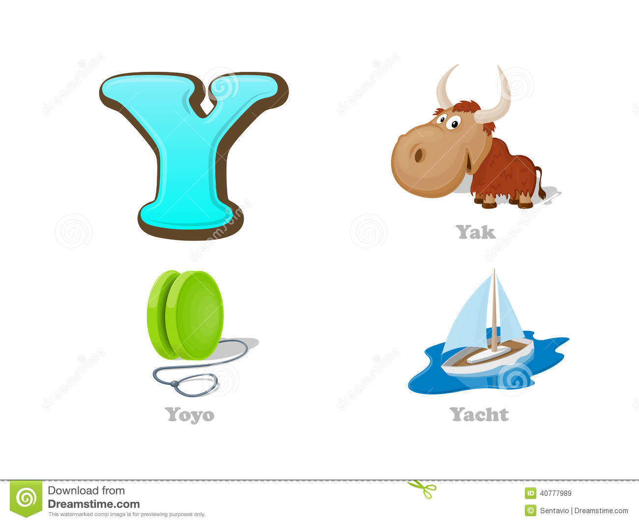 Abc Letter Y Funny Kid Icons Set Yak Yo Yo Yacht Stock