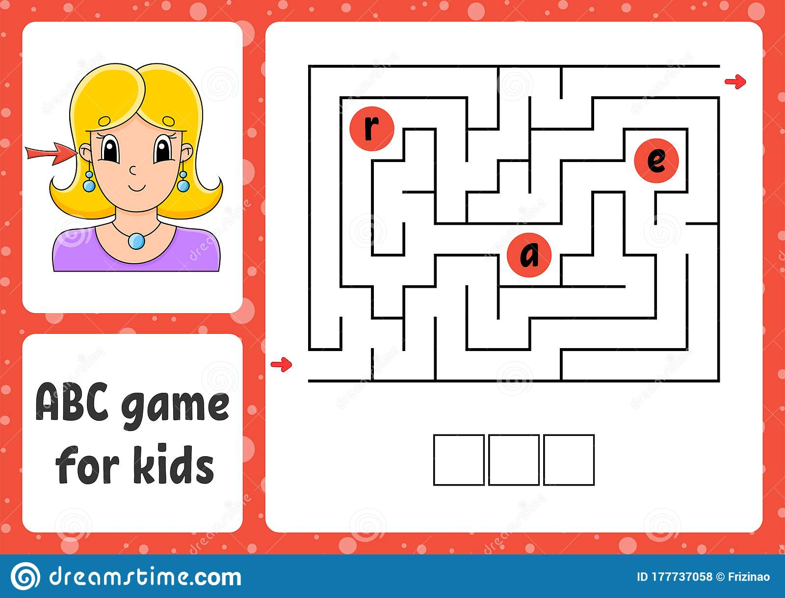 Abc Maze For Kids Answer Ear Rectangle Labyrinth