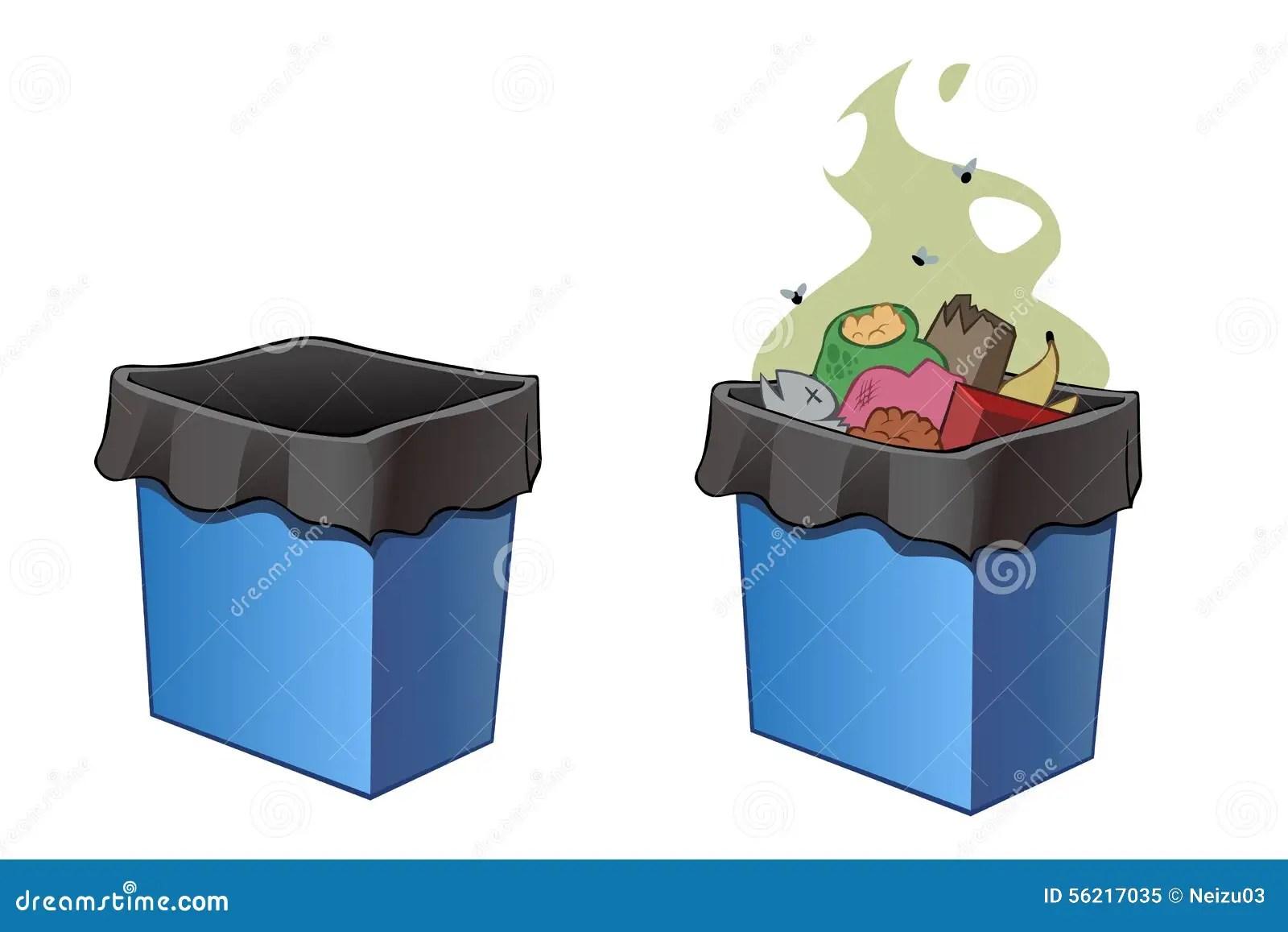 Abfalleimer Voll Und Leeren Sich Stock Abbildung