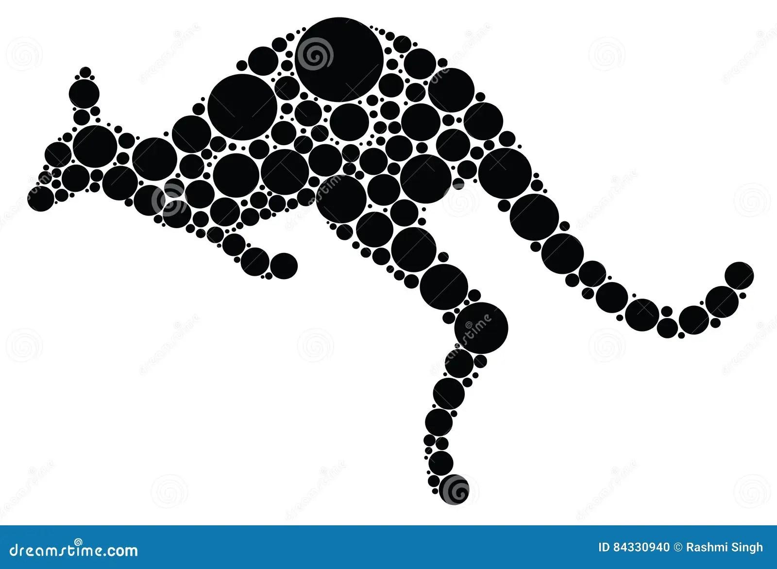 Aboriginal Art Kangaroo Illustration Stock Vector