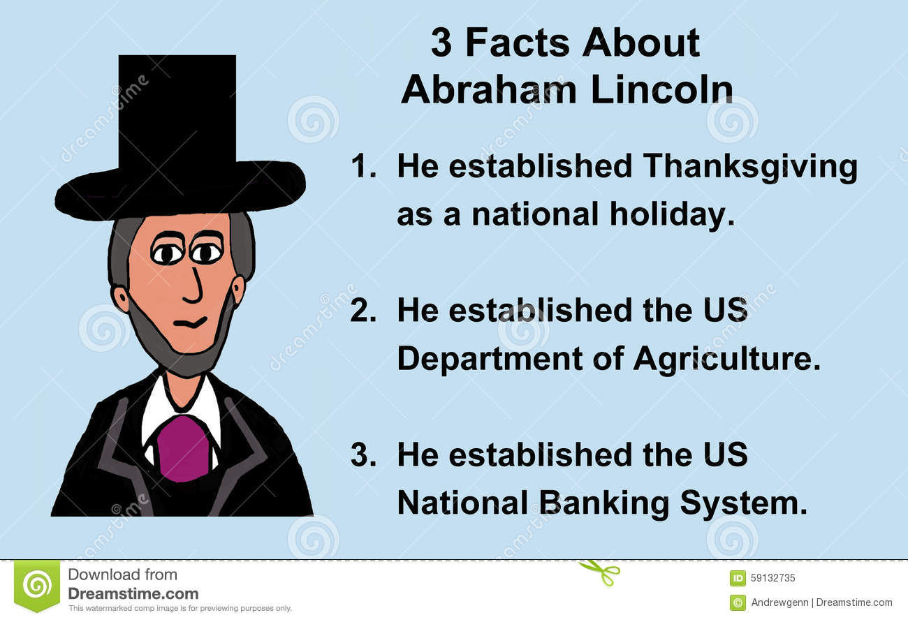 Abraham Lincoln Facts Stock Illustration