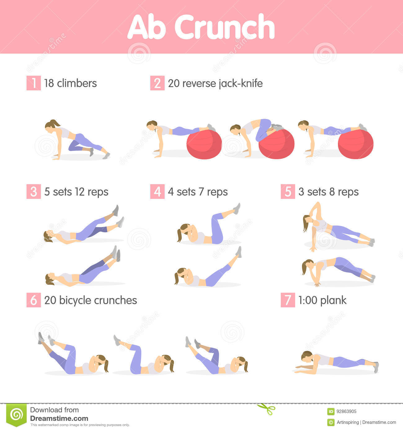 Abs Exercises Set Stock Vector Illustration Of Fitness