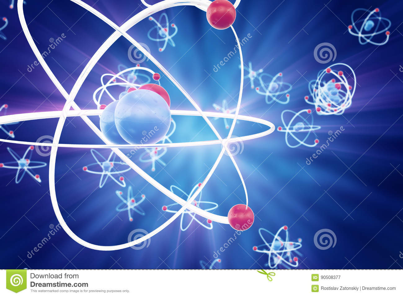 Abstract Atom Background Chemistry Model Of Molecule