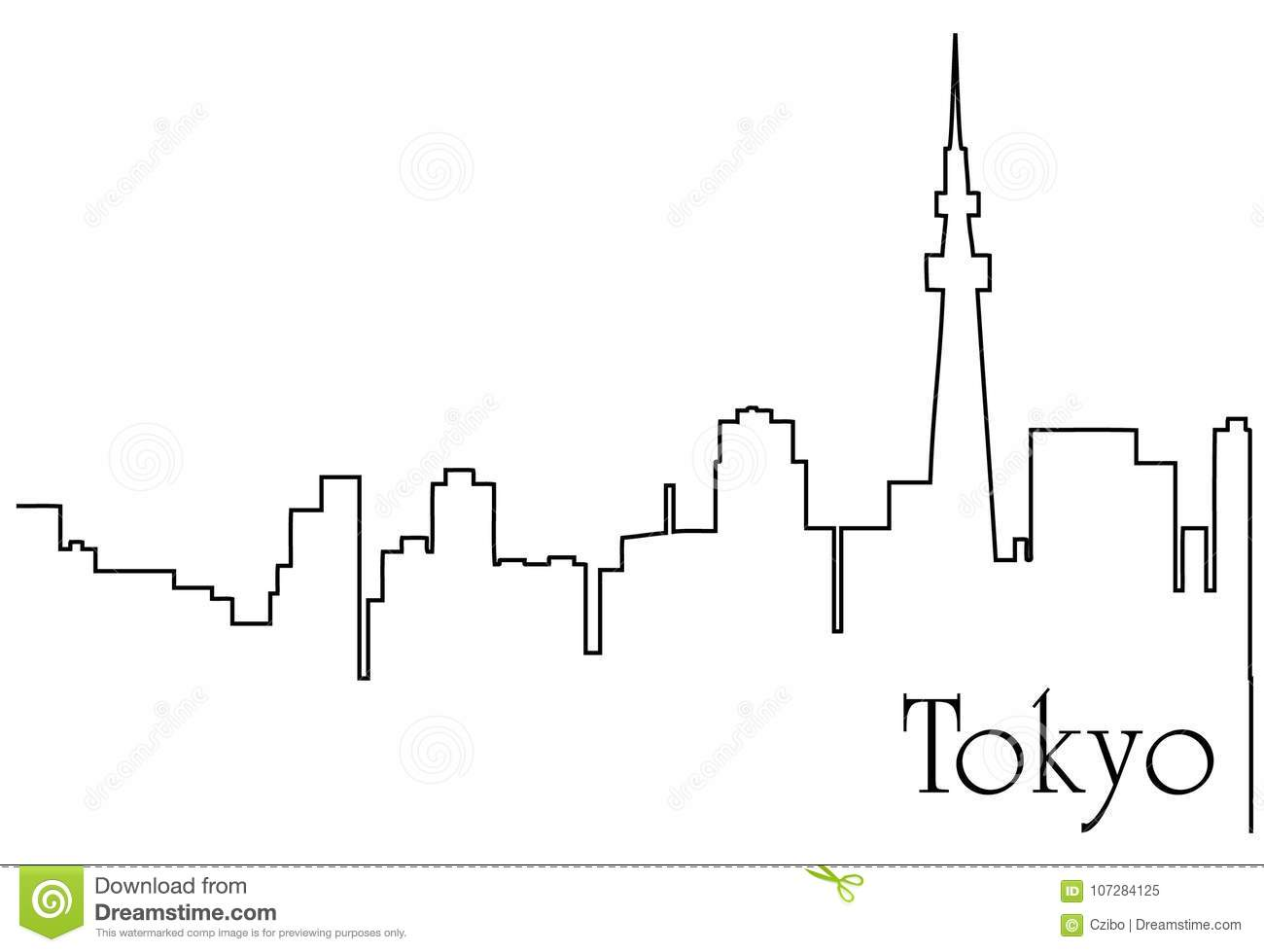 Tokyo City One Line Drawing Abstract Background Stock