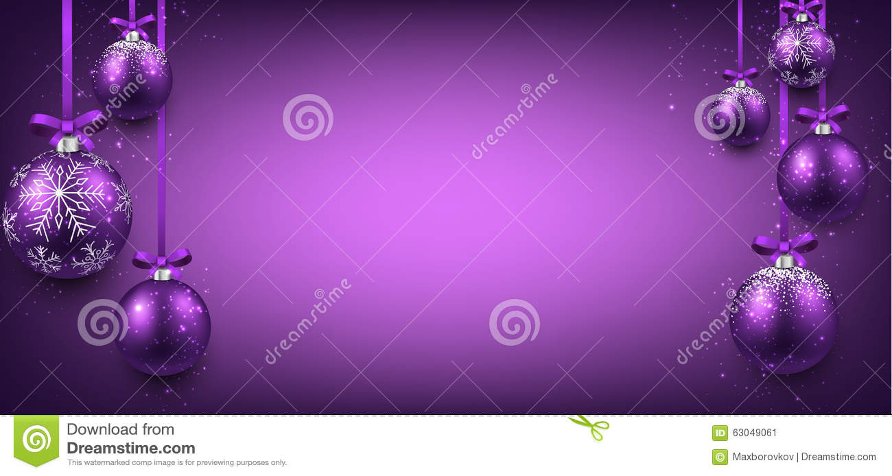 Abstract Banner With Purple Christmas Balls Stock Vector