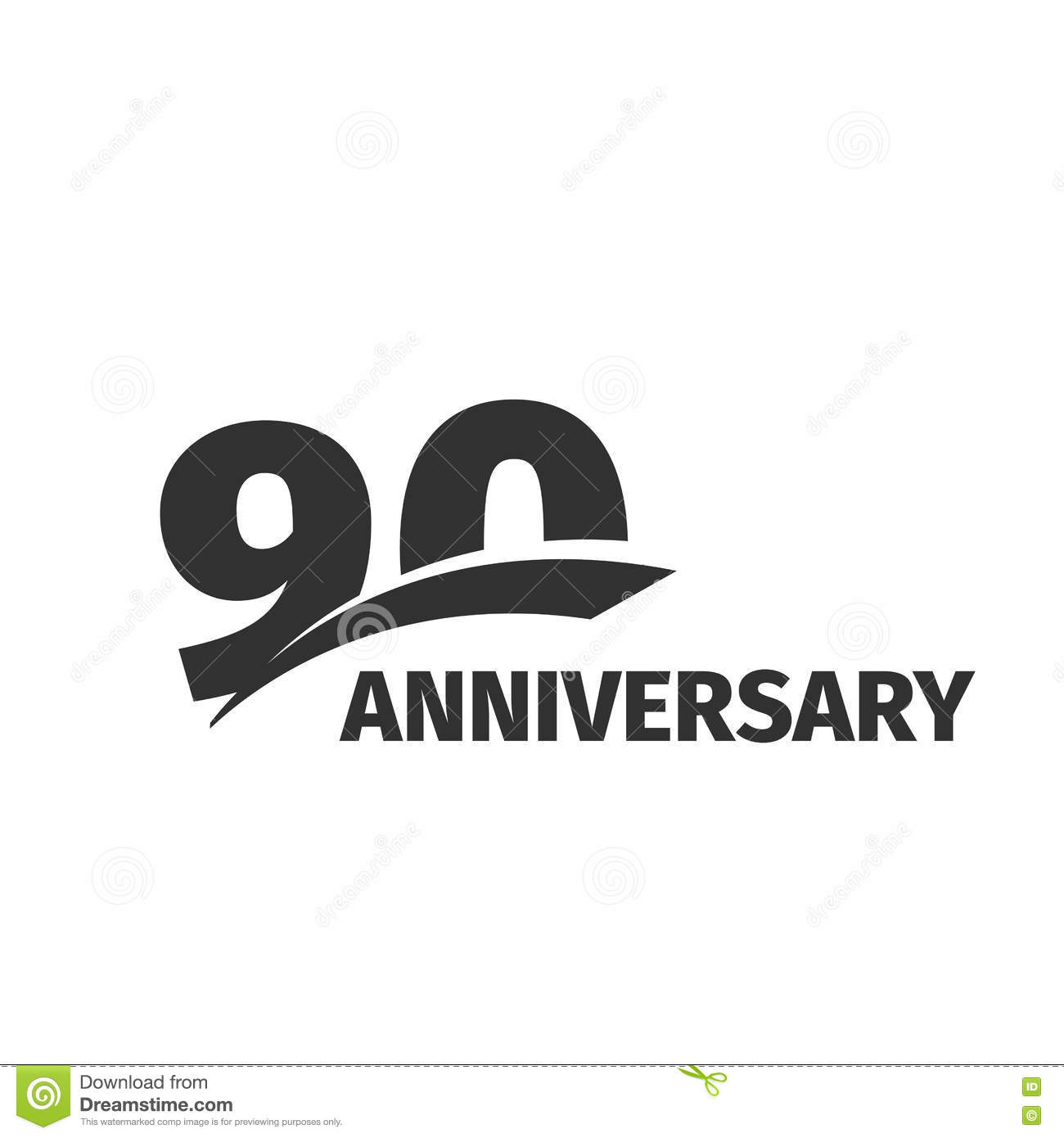 Abstract Black 90th Anniversary Logo On White Background