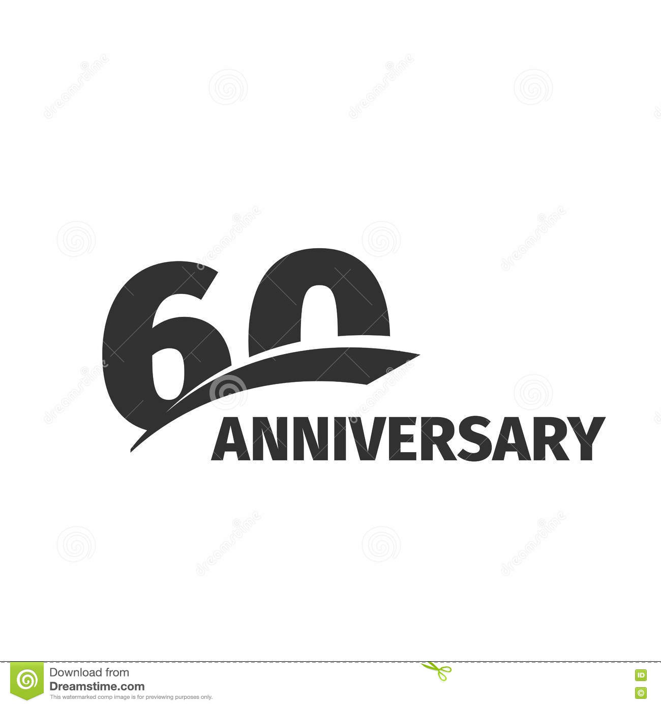 Abstract Black 60th Anniversary Logo On White Background