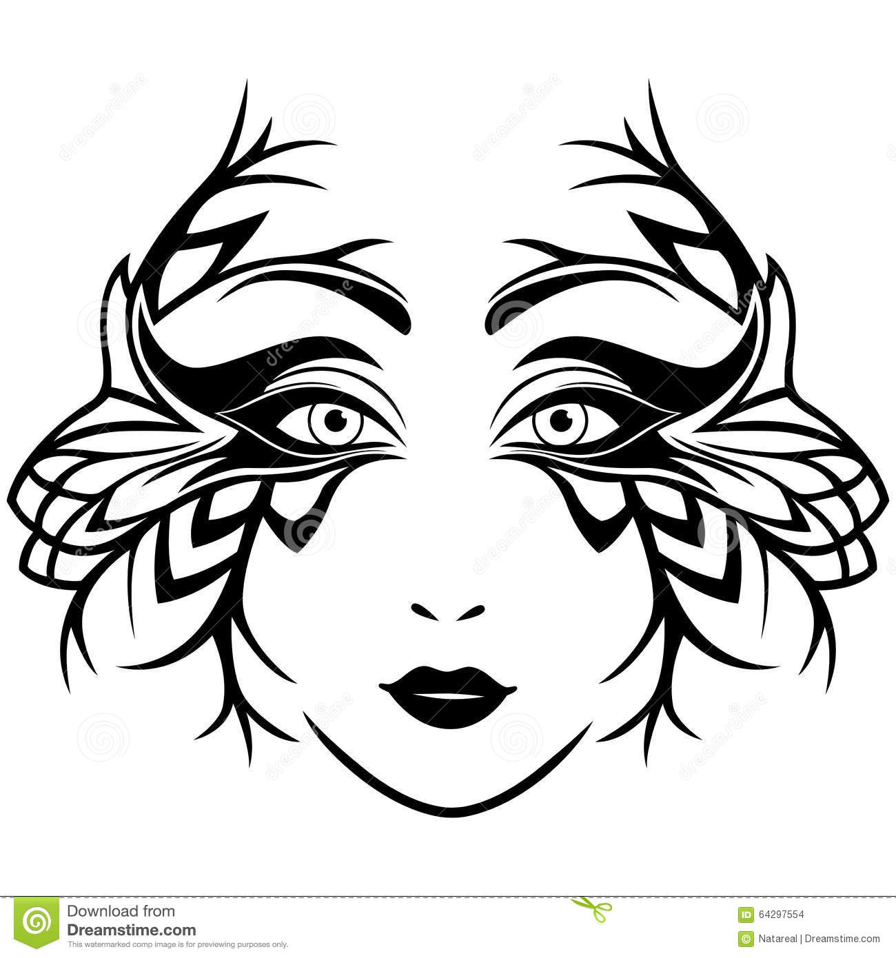 Abstract Black And White Female Face With Mask Stock