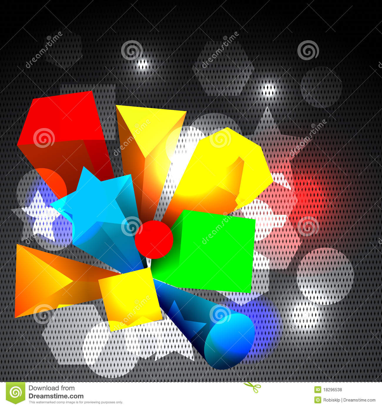 Abstract Colorful 3d Shapes Stock Vector