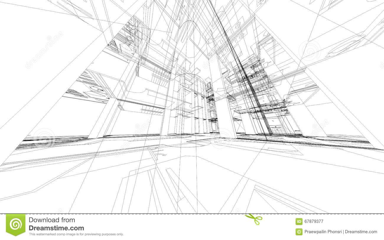 Abstract 3d Rendering Of Building Wireframe Structure