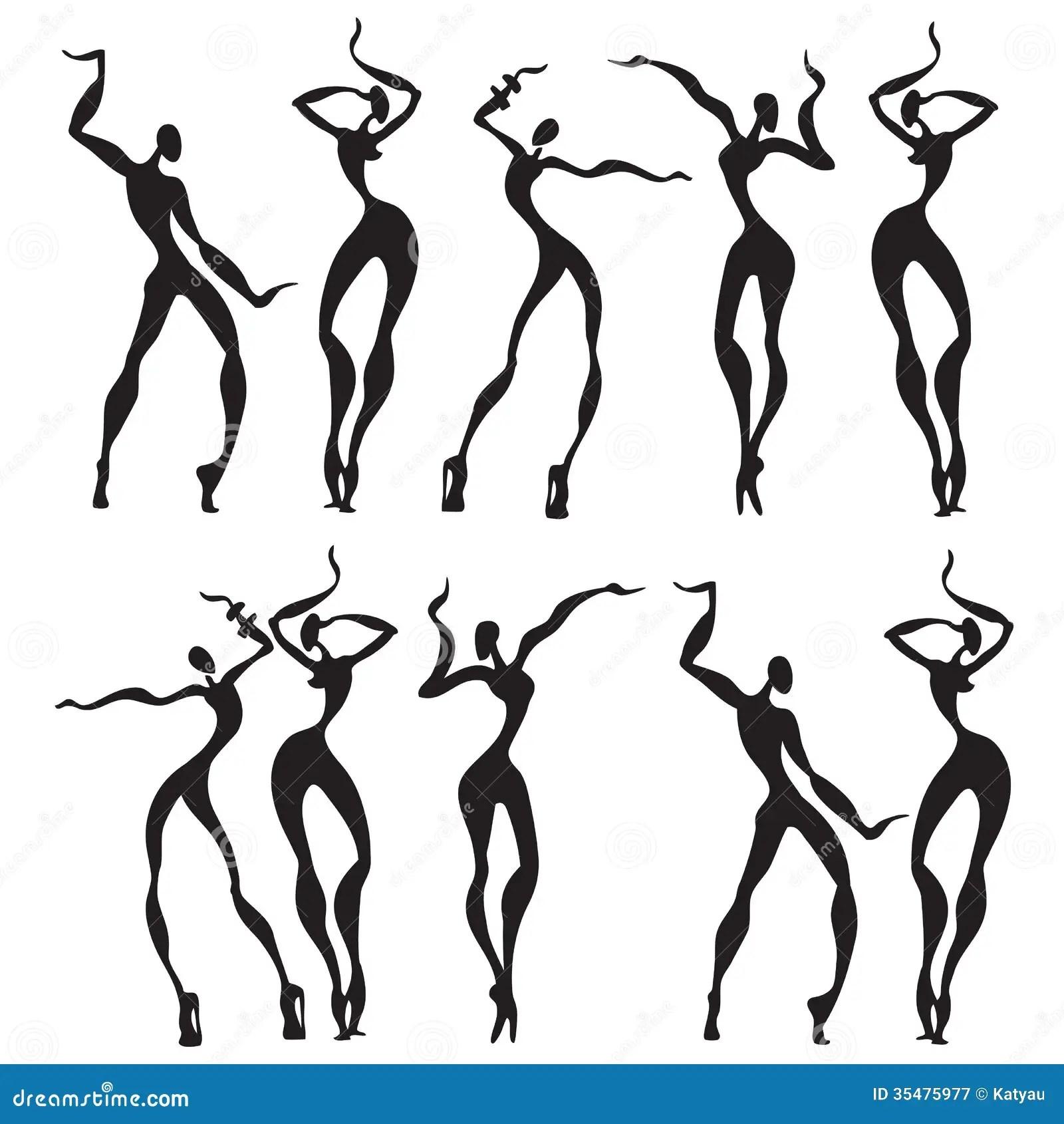 Abstract Dancing Figures Stock Illustration Illustration