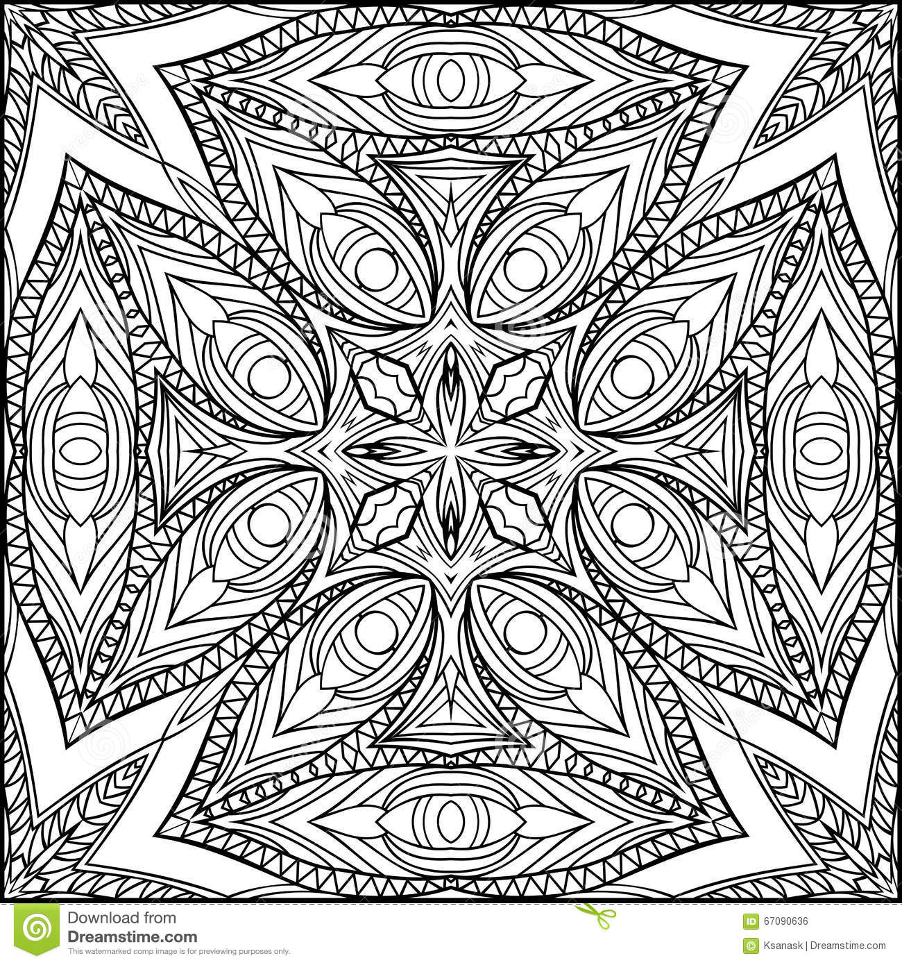 Abstract Egyptian Cross Zentangle Style Black And White