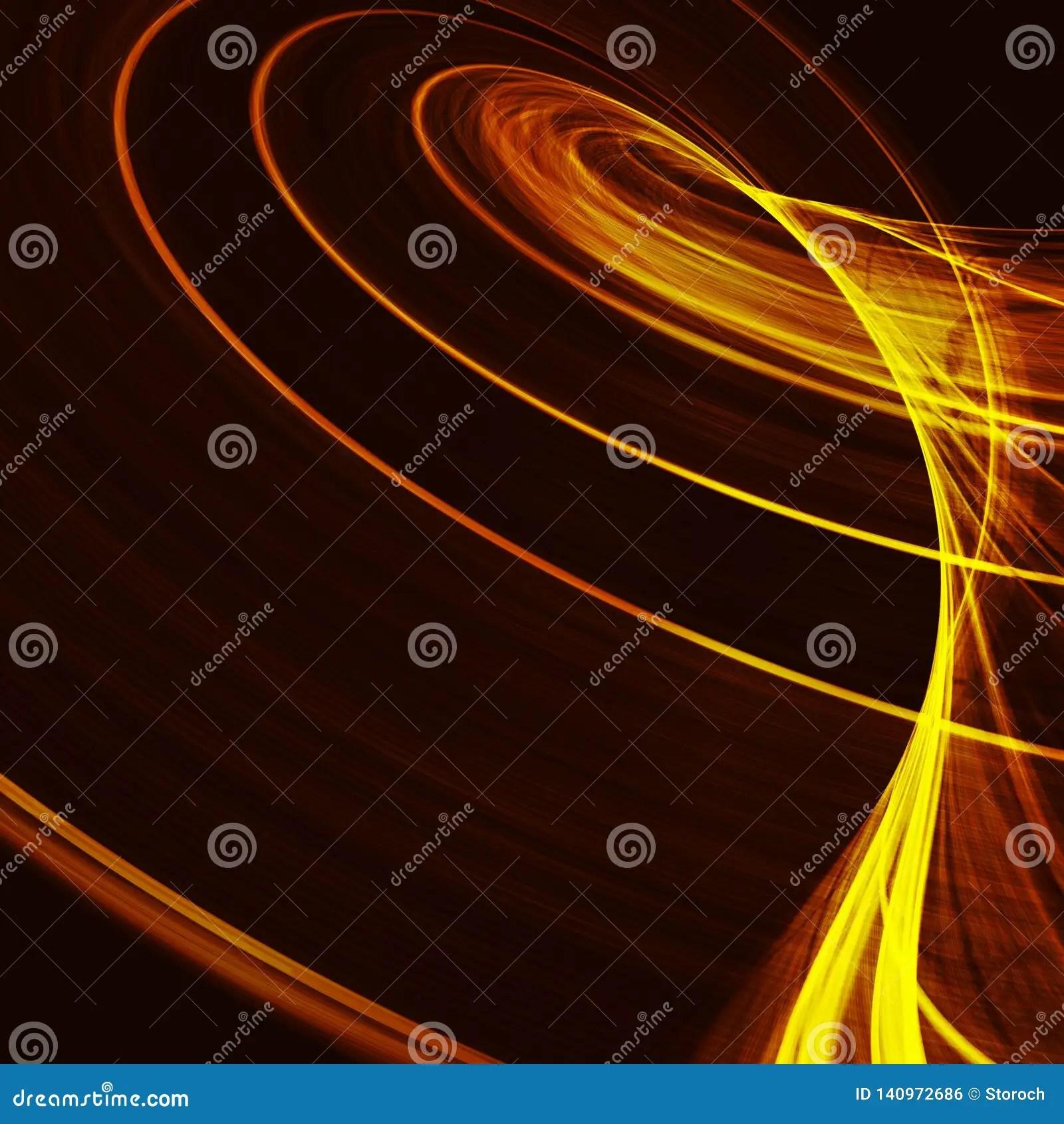 Abstract Fractal Orange Gra Nt Background Light Curved