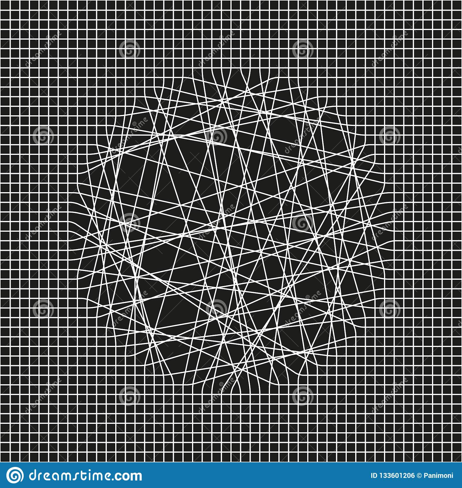 Abstract Grid Composition Black And White Illustration