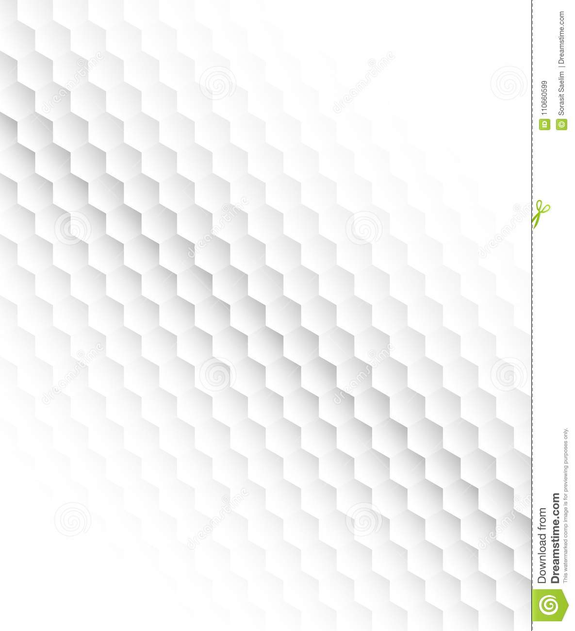 Abstract Hexagon White Background Vector Stock