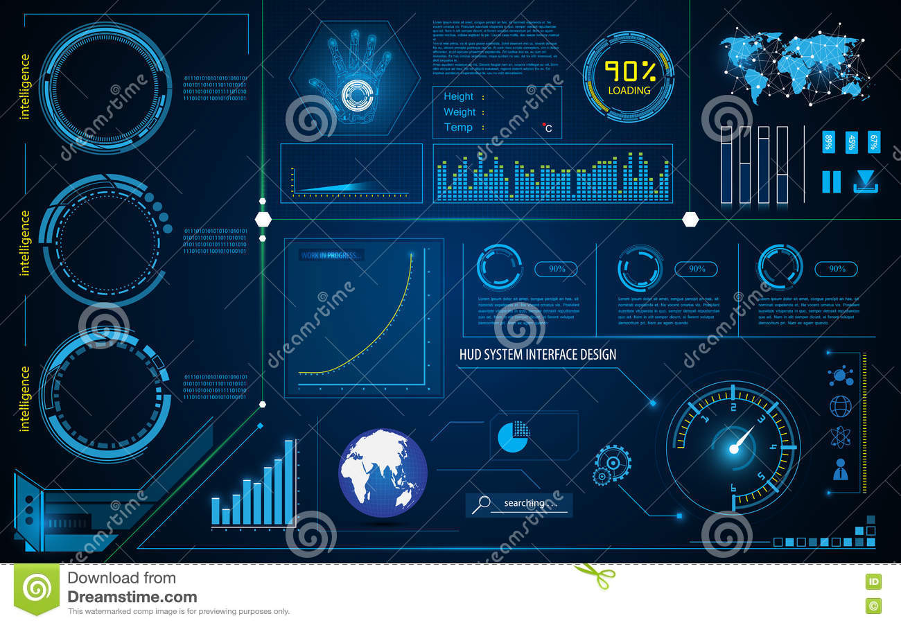 Abstract Hud Interface Intelligence Technology Innovation System Working Concept Stock Vector
