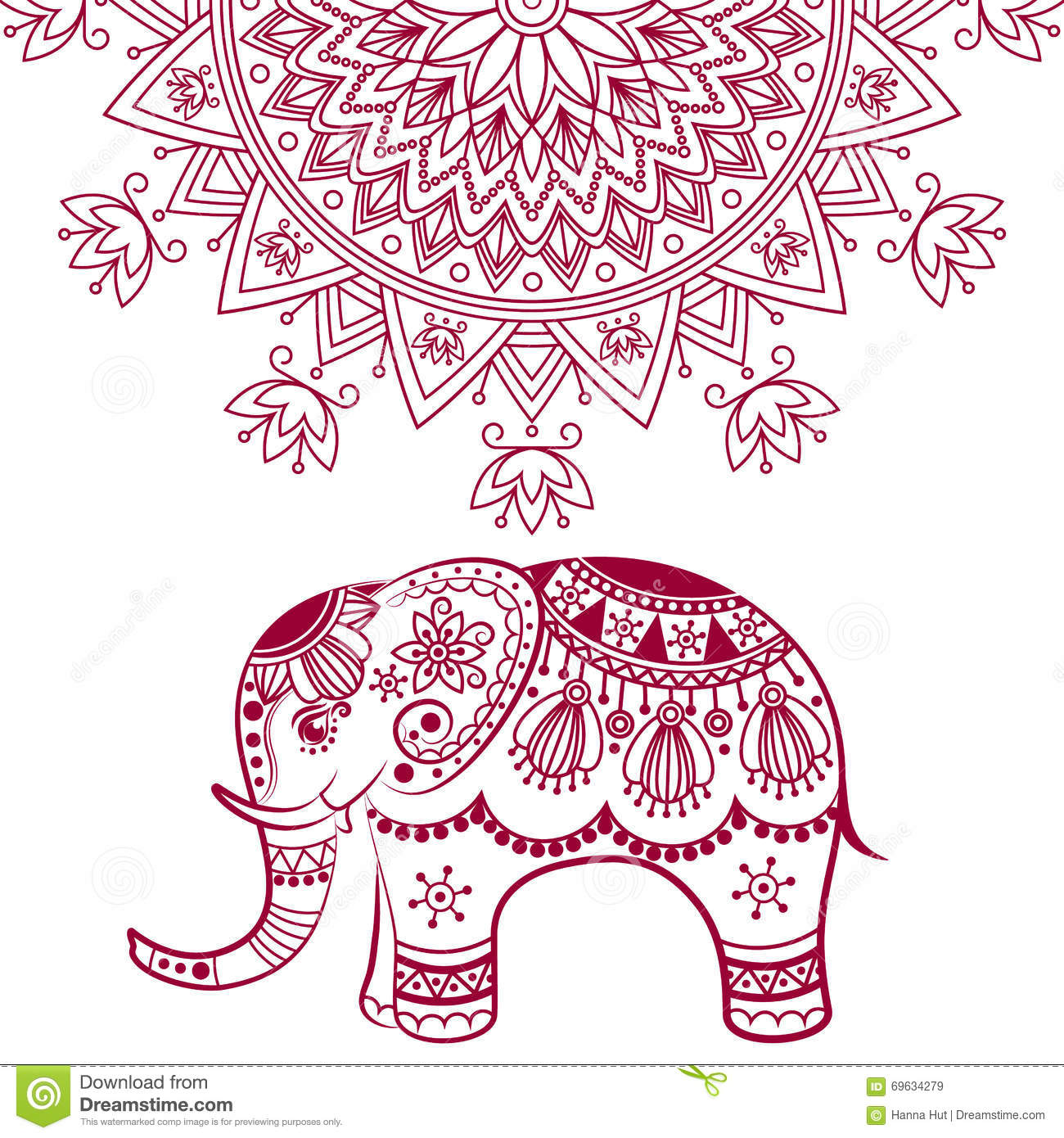 Abstract Indian Elephant With Mandala Stock Vector