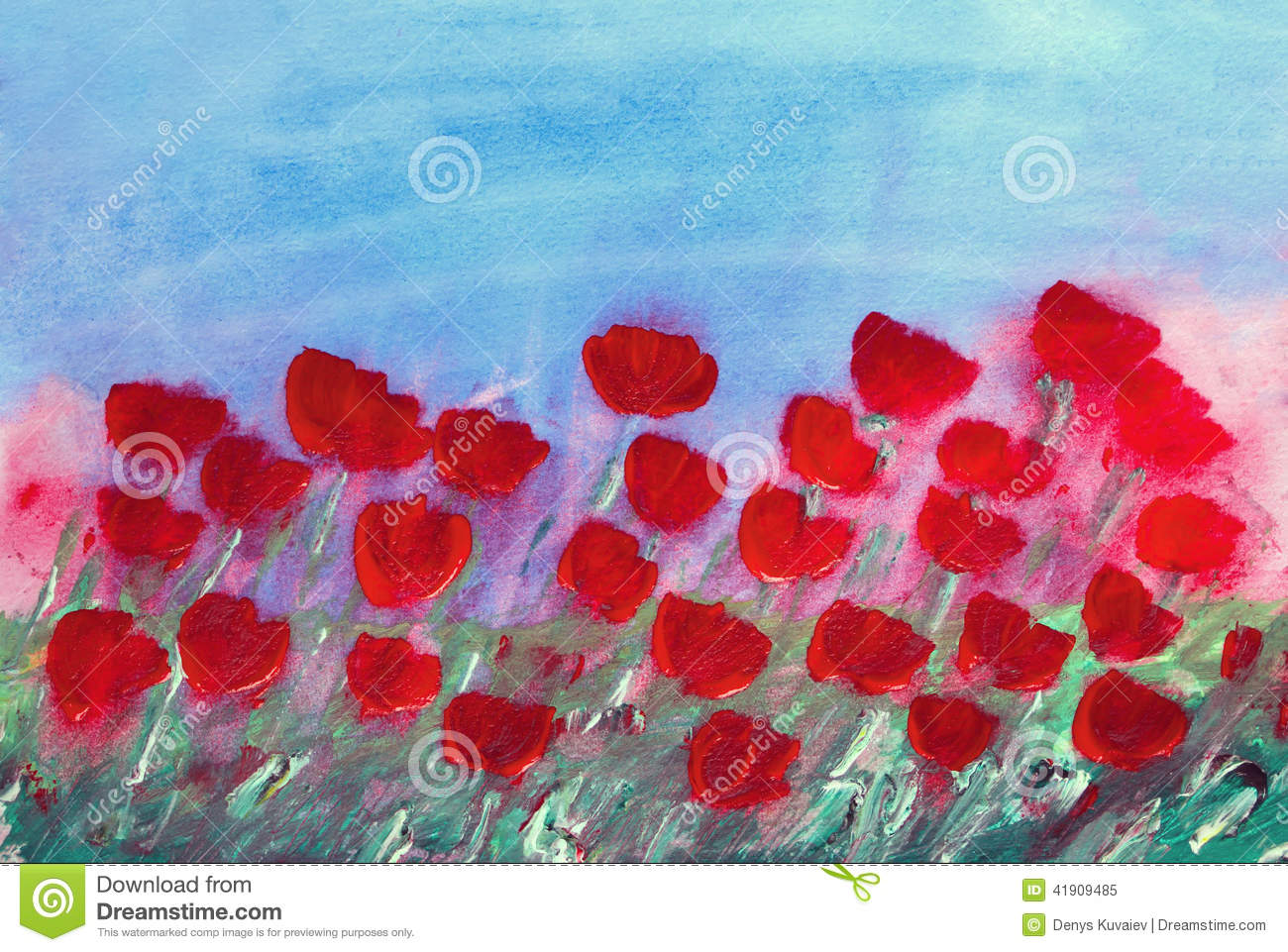 Abstract Red Flowers Painting Stock Illustration Image