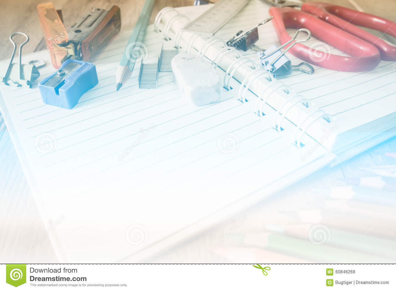 Abstract School And Office Supplies On Wood Background Stock Photo