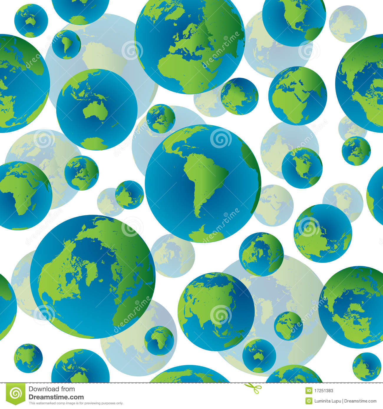 Abstract Seamless Pattern With Earth Globes Stock