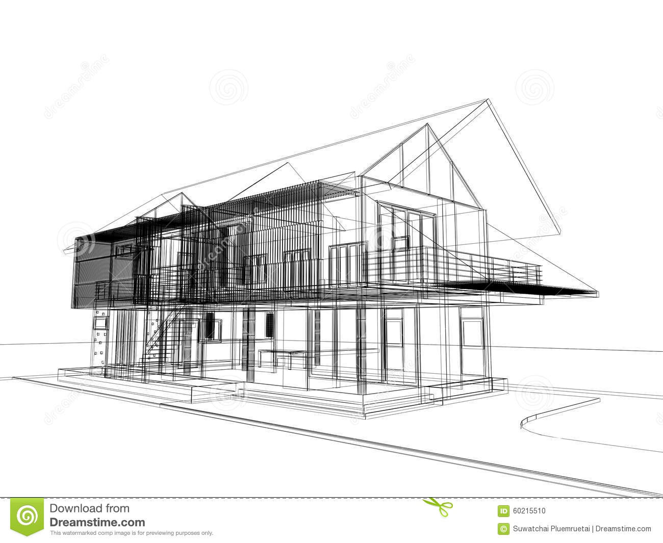 Abstract Sketch Design Of Exterior House Stock