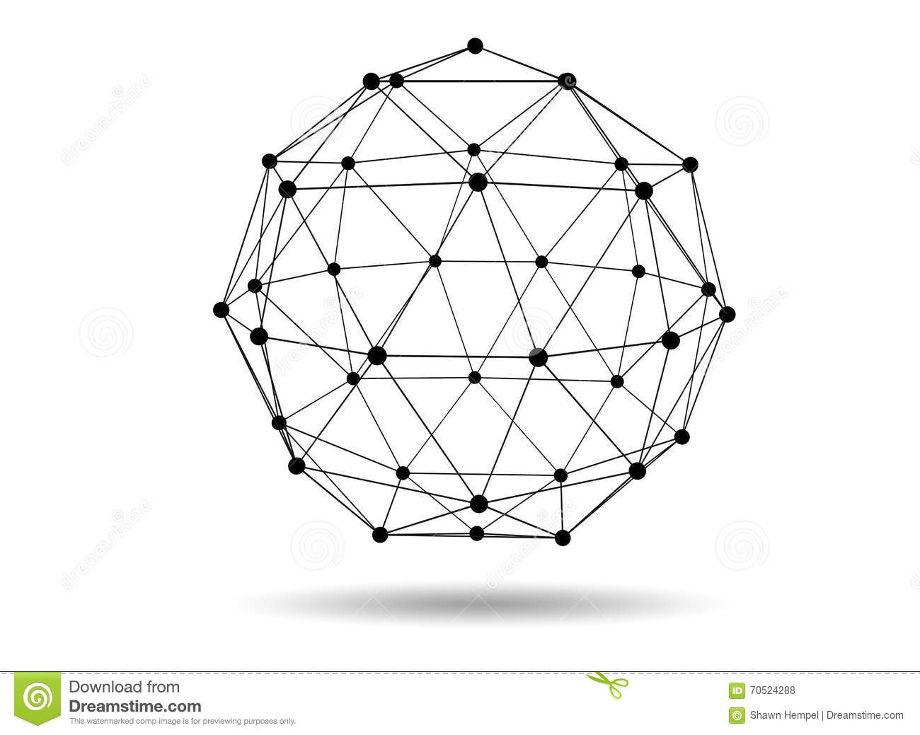 Abstract Three Dimensional Polygon Wireframe Network Structure Royalty Free Stock Photography