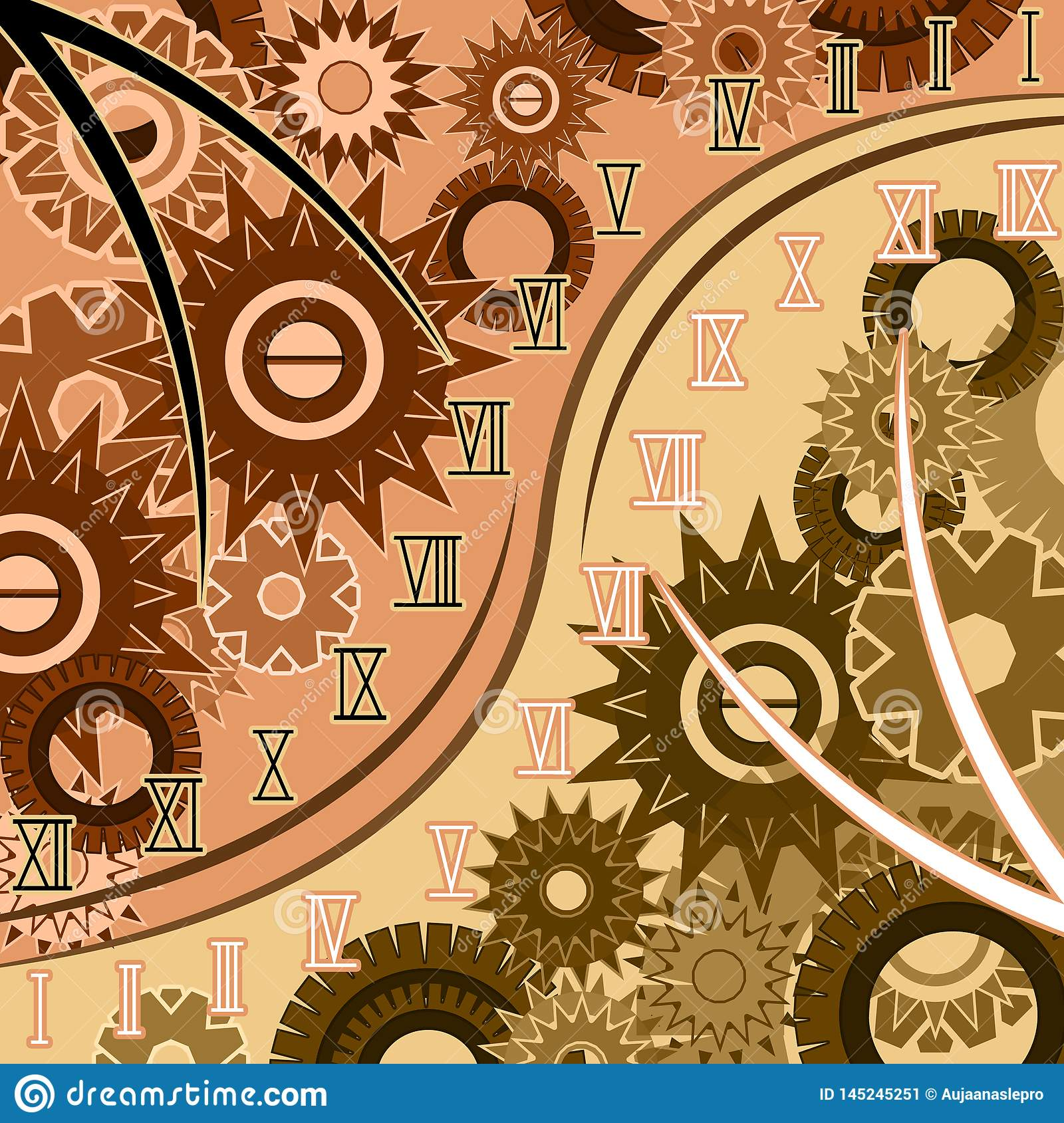 Abstract Of Time With Roman Numerals Stock Illustration