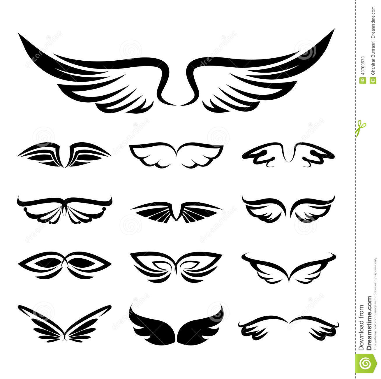 Abstract Wings Icons Set Stock Vector