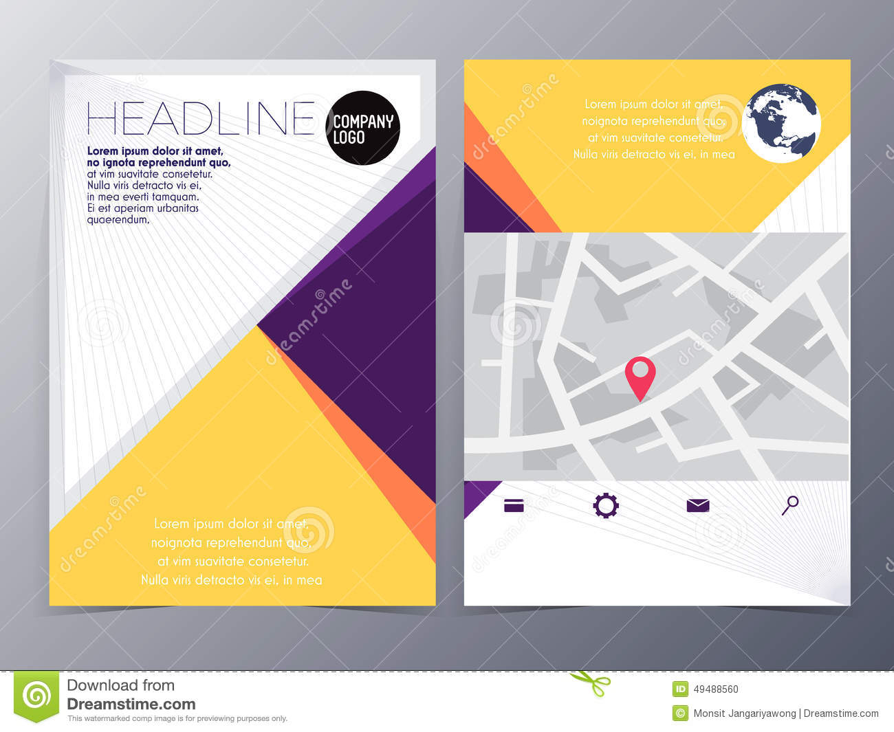 Abstract Yellow Geometric Flyer Design Template Vector Mock Up Stock Vector Image 49488560
