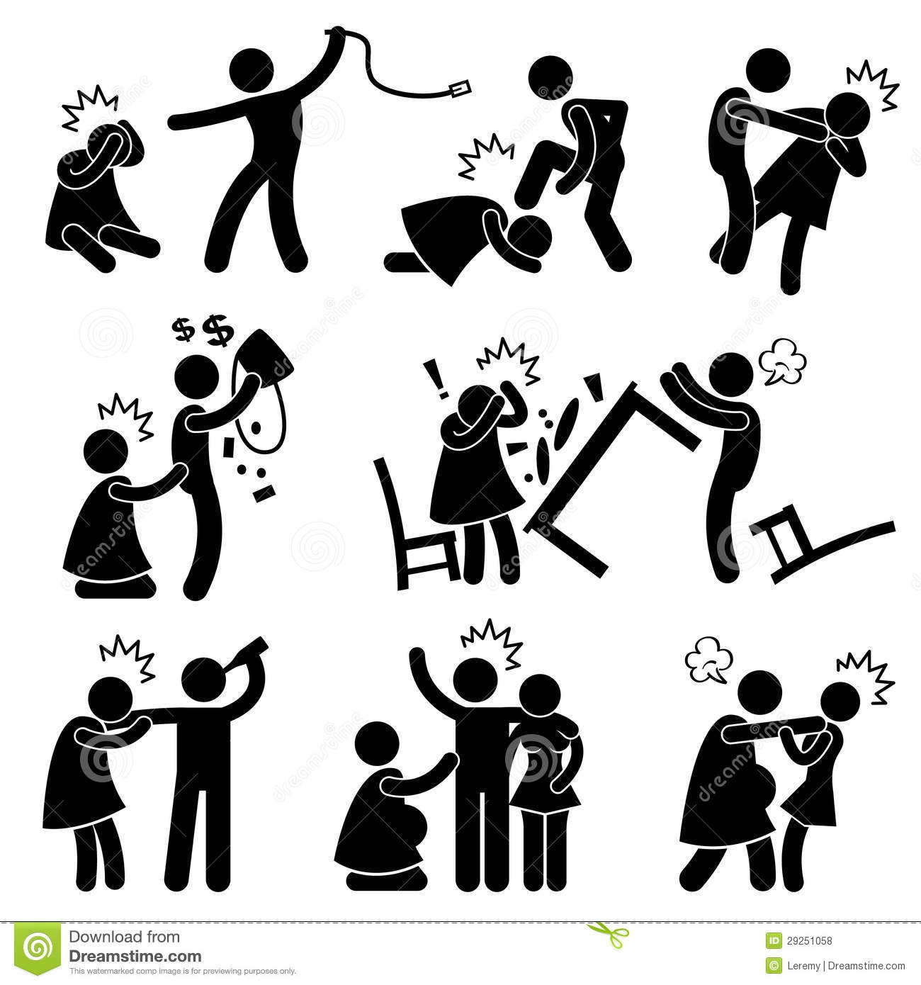 Abusive Husband Helpless Wife Pictogram Royalty Free Stock